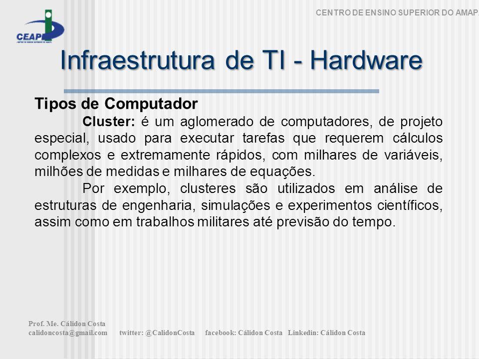 Infraestrutura de TI - Hardware CENTRO DE ENSINO SUPERIOR DO AMAPÁ Tipos de Computador Cluster: é um aglomerado de computadores, de projeto especial,
