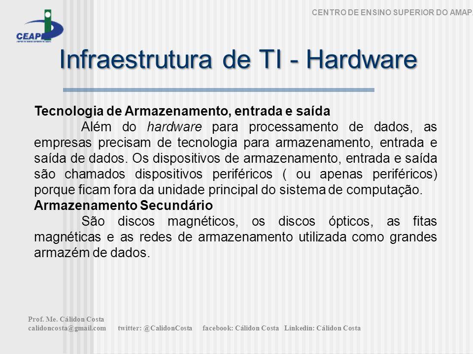 Infraestrutura de TI - Hardware CENTRO DE ENSINO SUPERIOR DO AMAPÁ Tecnologia de Armazenamento, entrada e saída Além do hardware para processamento de dados, as empresas precisam de tecnologia para armazenamento, entrada e saída de dados.
