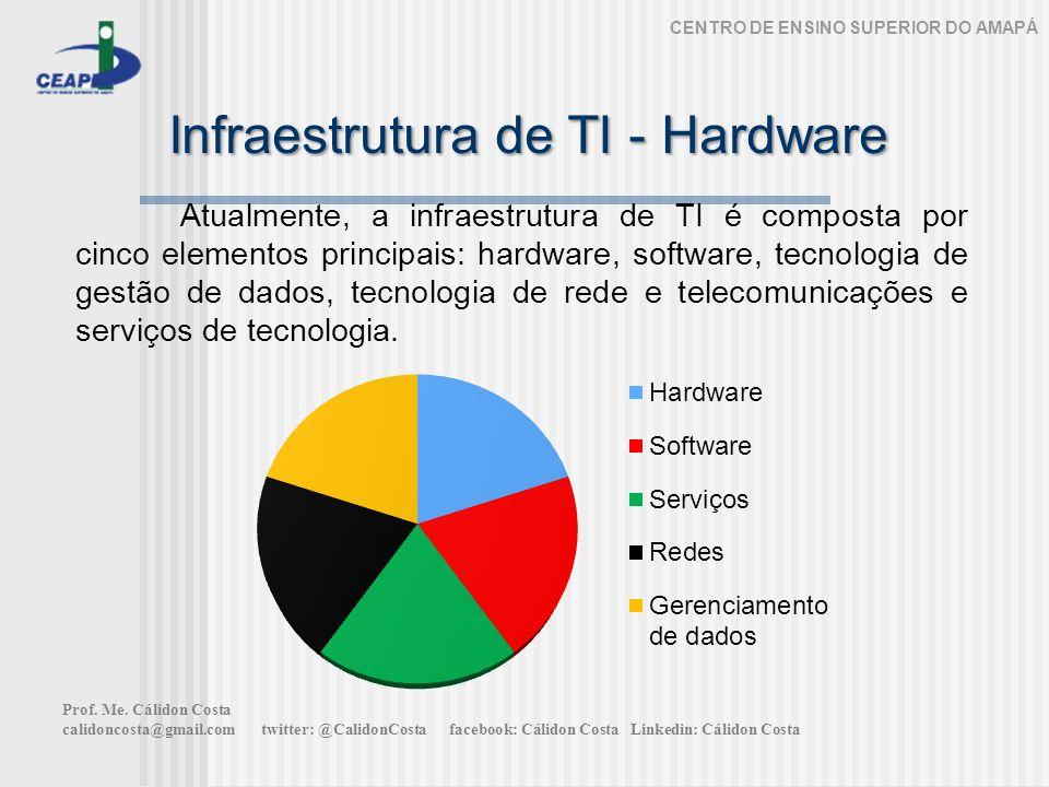 Infraestrutura de TI - Hardware CENTRO DE ENSINO SUPERIOR DO AMAPÁ Atualmente, a infraestrutura de TI é composta por cinco elementos principais: hardware, software, tecnologia de gestão de dados, tecnologia de rede e telecomunicações e serviços de tecnologia.