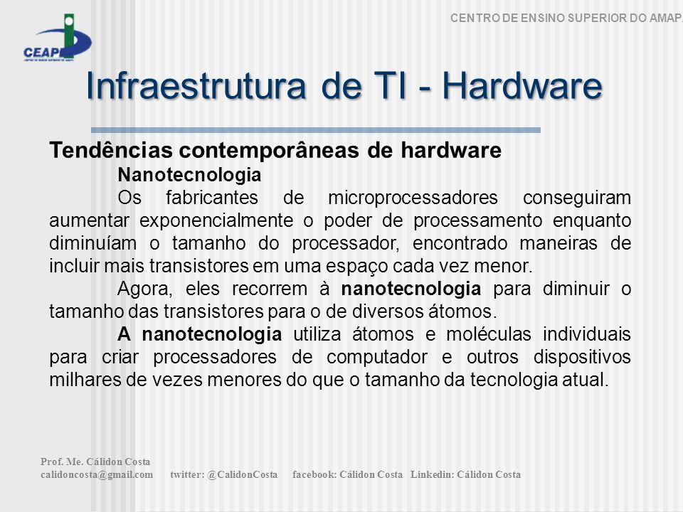 Infraestrutura de TI - Hardware CENTRO DE ENSINO SUPERIOR DO AMAPÁ Tendências contemporâneas de hardware Nanotecnologia Os fabricantes de microprocess