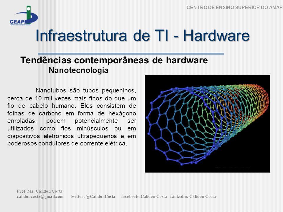 Infraestrutura de TI - Hardware CENTRO DE ENSINO SUPERIOR DO AMAPÁ Tendências contemporâneas de hardware Nanotecnologia Nanotubos são tubos pequeninos, cerca de 10 mil vezes mais finos do que um fio de cabelo humano.