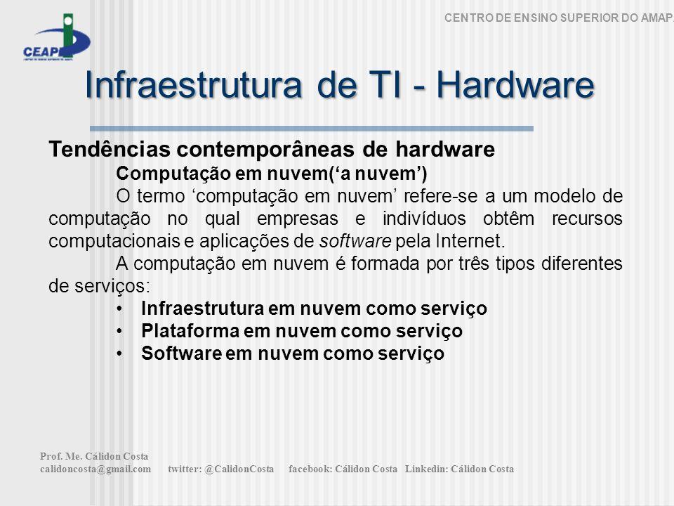 Infraestrutura de TI - Hardware CENTRO DE ENSINO SUPERIOR DO AMAPÁ Tendências contemporâneas de hardware Computação em nuvem(a nuvem) O termo computação em nuvem refere-se a um modelo de computação no qual empresas e indivíduos obtêm recursos computacionais e aplicações de software pela Internet.