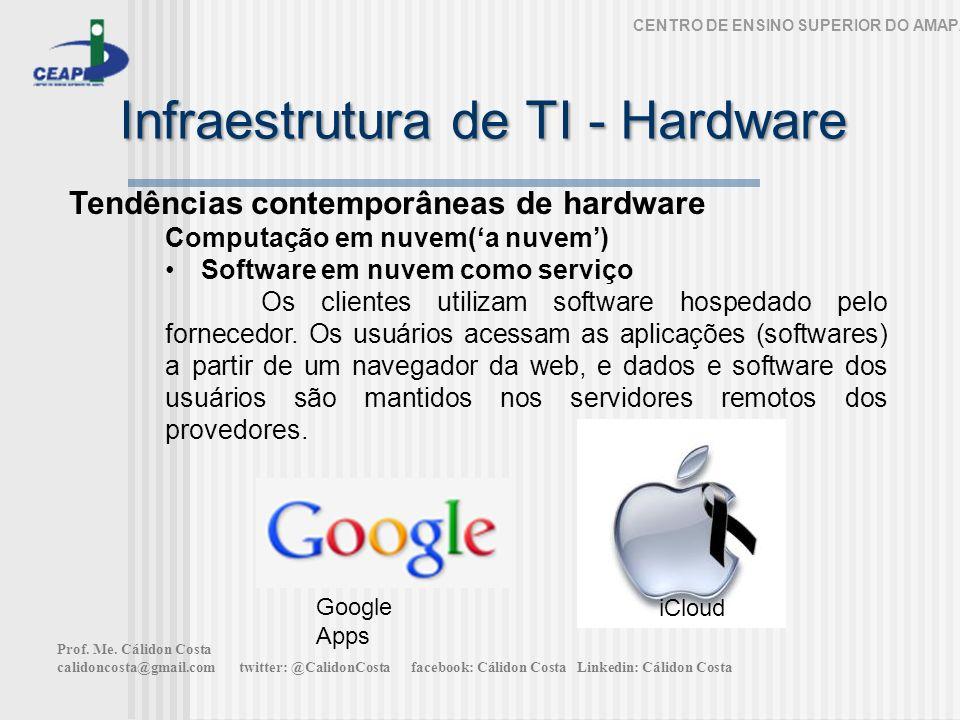 Infraestrutura de TI - Hardware CENTRO DE ENSINO SUPERIOR DO AMAPÁ Tendências contemporâneas de hardware Computação em nuvem(a nuvem) Software em nuvem como serviço Os clientes utilizam software hospedado pelo fornecedor.