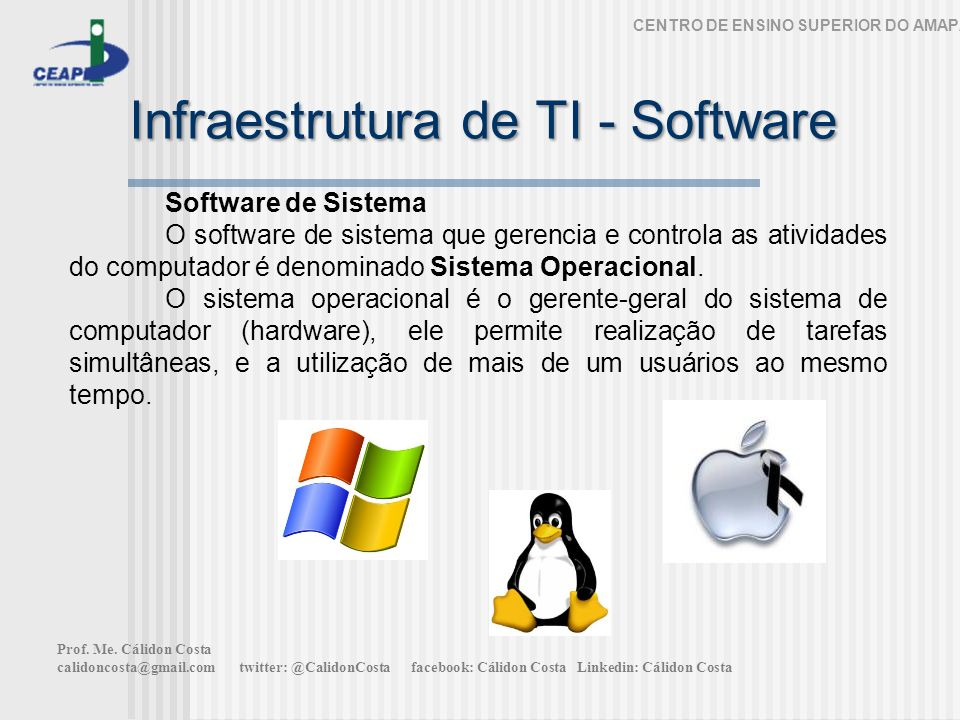 Infraestrutura de TI - Software CENTRO DE ENSINO SUPERIOR DO AMAPÁ Software de Sistema O software de sistema que gerencia e controla as atividades do computador é denominado Sistema Operacional.