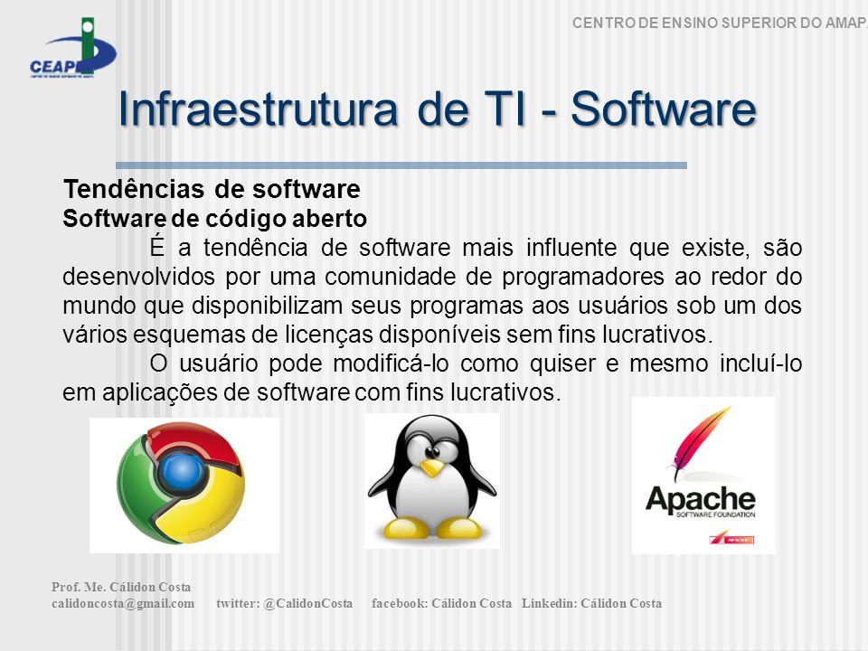 Infraestrutura de TI - Software CENTRO DE ENSINO SUPERIOR DO AMAPÁ Tendências de software Software de código aberto É a tendência de software mais inf
