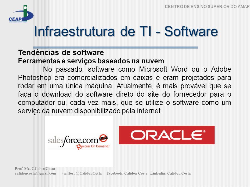 Infraestrutura de TI - Software CENTRO DE ENSINO SUPERIOR DO AMAPÁ Tendências de software Ferramentas e serviços baseados na nuvem No passado, softwar
