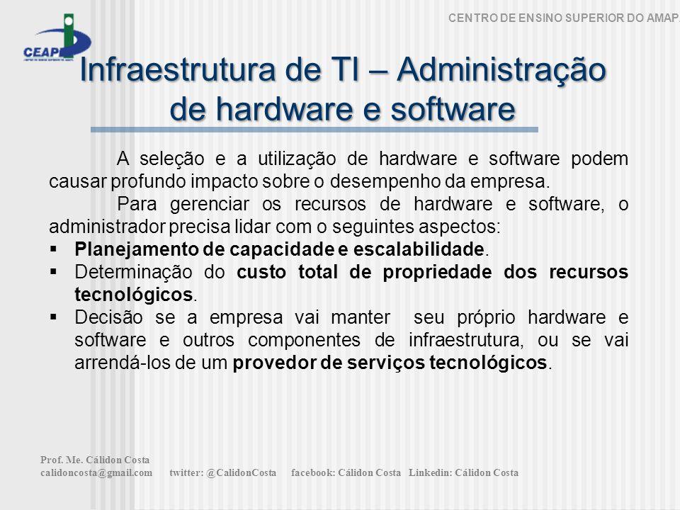 Infraestrutura de TI – Administração de hardware e software CENTRO DE ENSINO SUPERIOR DO AMAPÁ A seleção e a utilização de hardware e software podem causar profundo impacto sobre o desempenho da empresa.