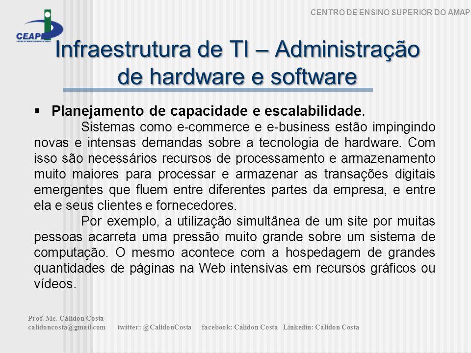 Infraestrutura de TI – Administração de hardware e software CENTRO DE ENSINO SUPERIOR DO AMAPÁ Planejamento de capacidade e escalabilidade. Sistemas c