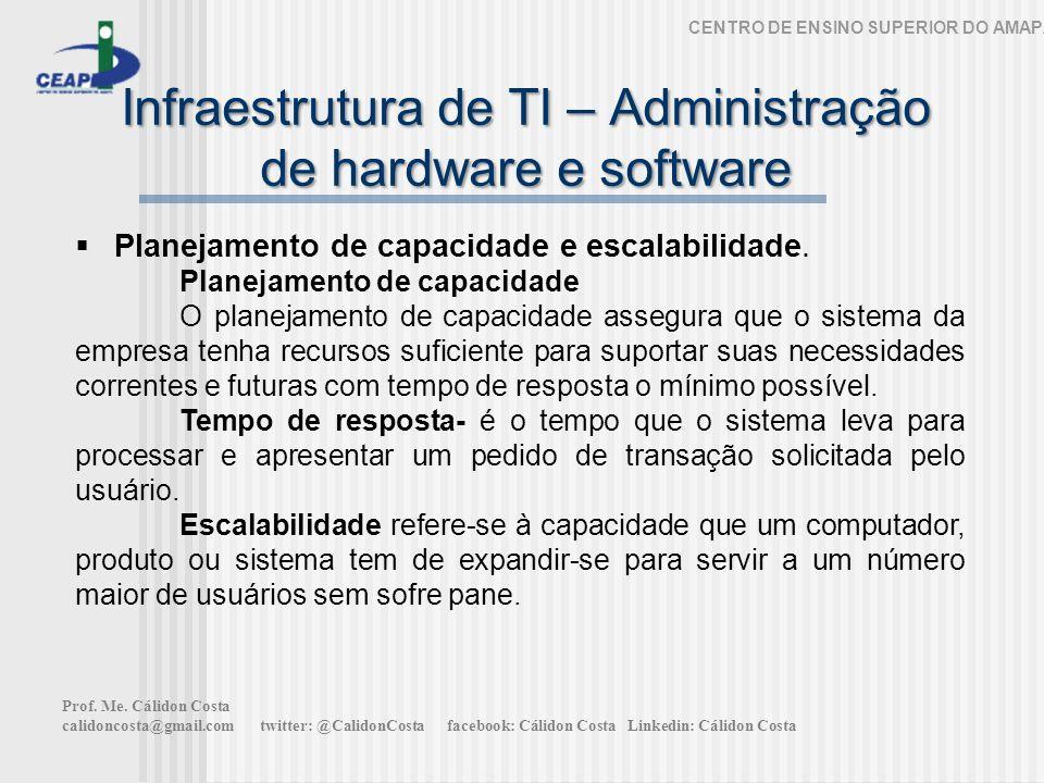 Infraestrutura de TI – Administração de hardware e software CENTRO DE ENSINO SUPERIOR DO AMAPÁ Planejamento de capacidade e escalabilidade. Planejamen
