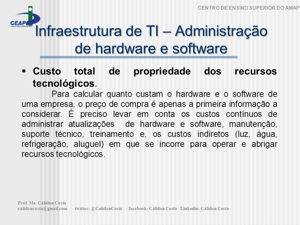 Infraestrutura de TI – Administração de hardware e software CENTRO DE ENSINO SUPERIOR DO AMAPÁ Custo total de propriedade dos recursos tecnológicos. P