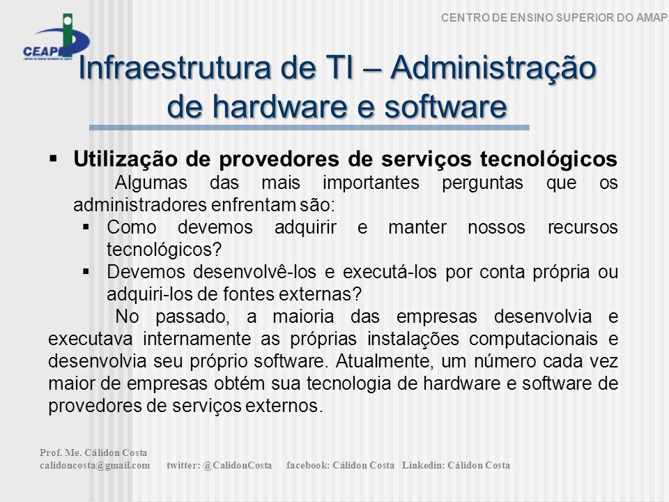 Infraestrutura de TI – Administração de hardware e software CENTRO DE ENSINO SUPERIOR DO AMAPÁ Utilização de provedores de serviços tecnológicos Algum