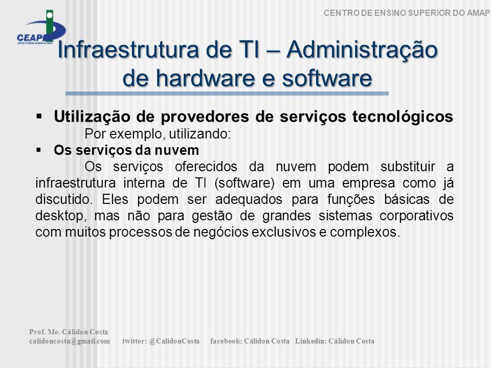 Infraestrutura de TI – Administração de hardware e software CENTRO DE ENSINO SUPERIOR DO AMAPÁ Utilização de provedores de serviços tecnológicos Por e