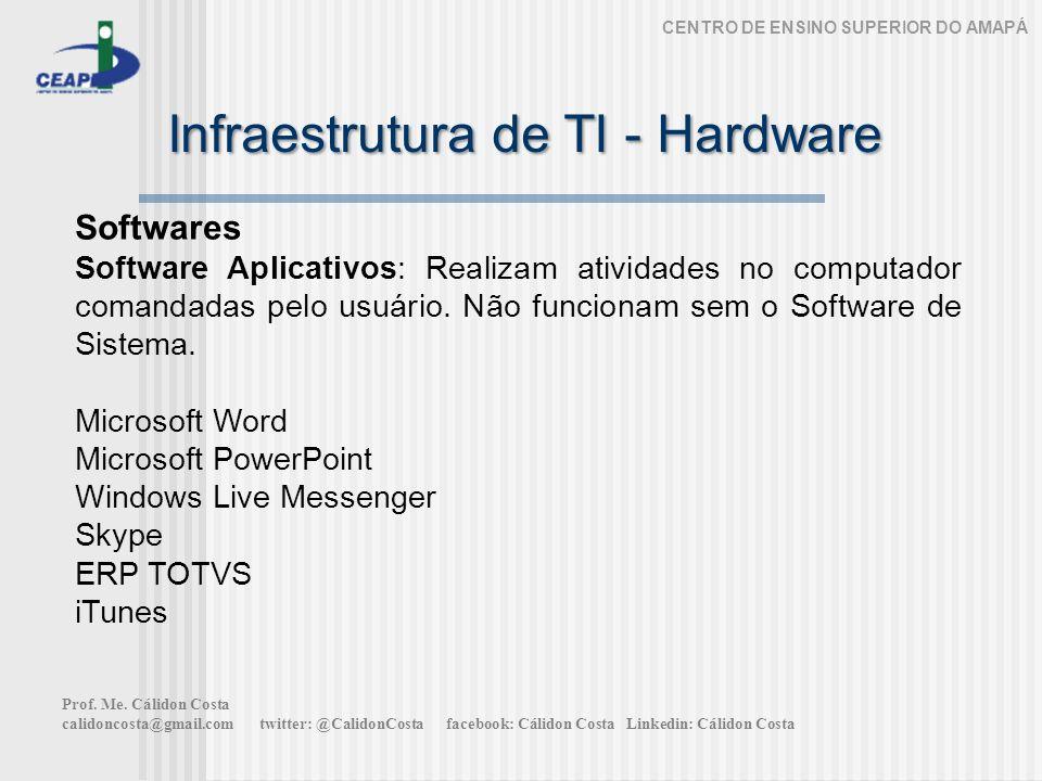 Infraestrutura de TI - Hardware CENTRO DE ENSINO SUPERIOR DO AMAPÁ Softwares Software Aplicativos: Realizam atividades no computador comandadas pelo usuário.