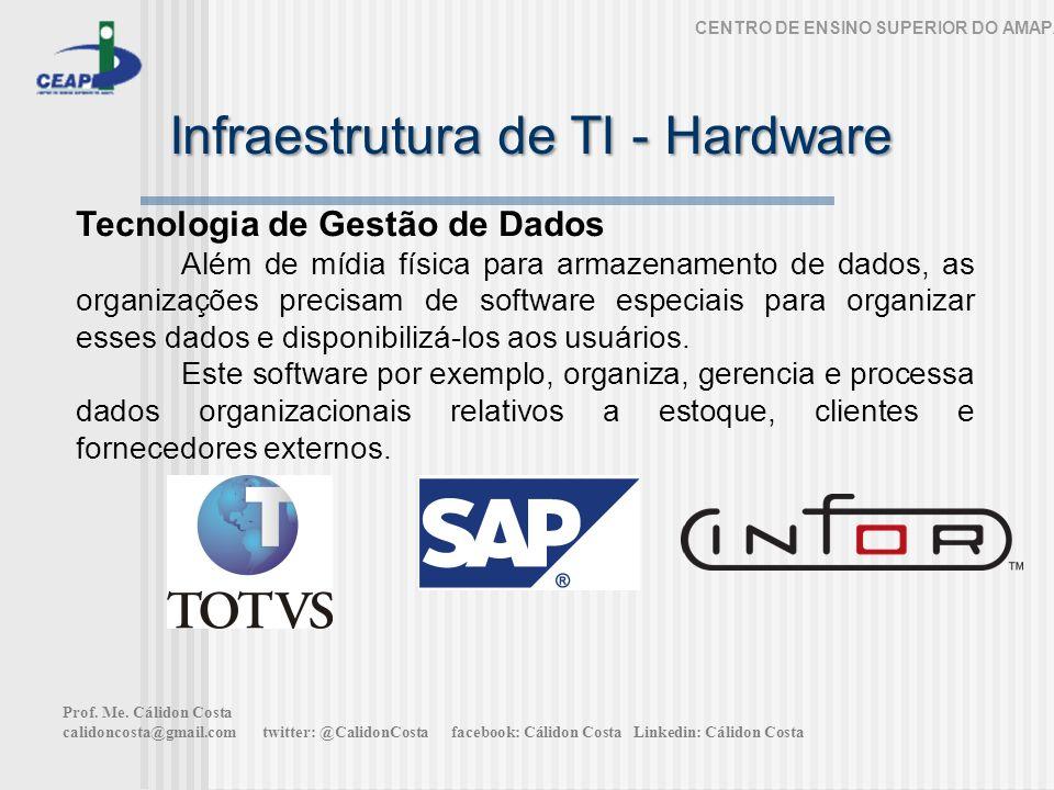 Infraestrutura de TI - Hardware CENTRO DE ENSINO SUPERIOR DO AMAPÁ Tecnologia de Gestão de Dados Além de mídia física para armazenamento de dados, as organizações precisam de software especiais para organizar esses dados e disponibilizá-los aos usuários.
