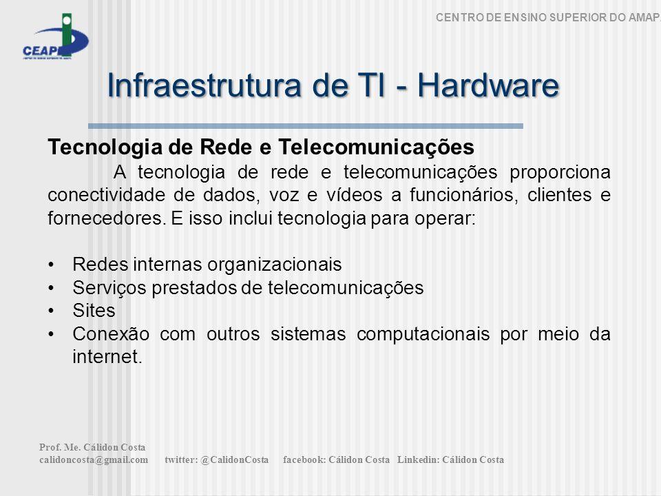 Infraestrutura de TI - Hardware CENTRO DE ENSINO SUPERIOR DO AMAPÁ Tecnologia de Rede e Telecomunicações A tecnologia de rede e telecomunicações proporciona conectividade de dados, voz e vídeos a funcionários, clientes e fornecedores.