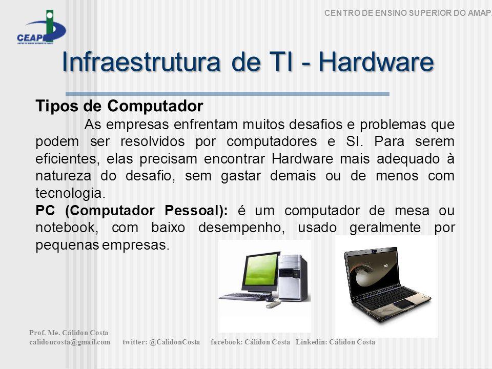 Infraestrutura de TI - Hardware CENTRO DE ENSINO SUPERIOR DO AMAPÁ Tipos de Computador As empresas enfrentam muitos desafios e problemas que podem ser resolvidos por computadores e SI.