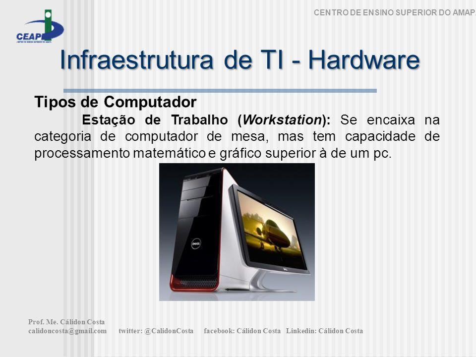 Infraestrutura de TI - Hardware CENTRO DE ENSINO SUPERIOR DO AMAPÁ Tipos de Computador Estação de Trabalho (Workstation): Se encaixa na categoria de c