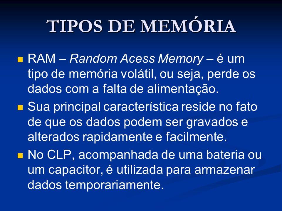 TIPOS DE MEMÓRIA RAM – Random Acess Memory – é um tipo de memória volátil, ou seja, perde os dados com a falta de alimentação. Sua principal caracterí