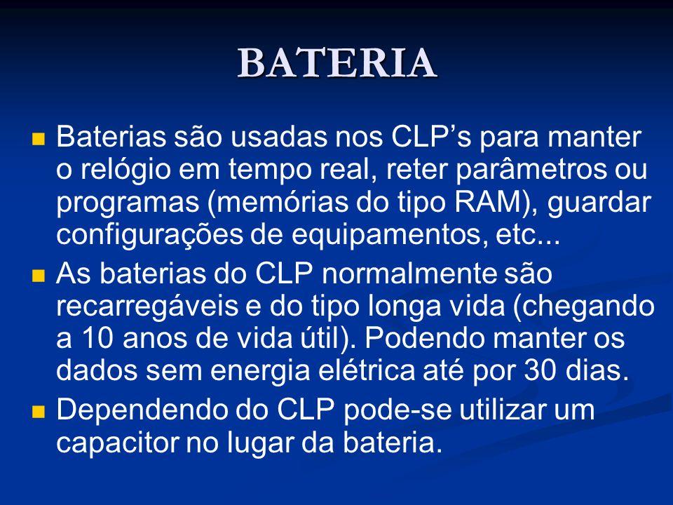 BATERIA Baterias são usadas nos CLPs para manter o relógio em tempo real, reter parâmetros ou programas (memórias do tipo RAM), guardar configurações