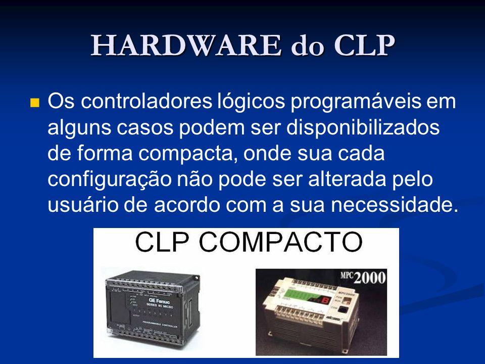 HARDWARE do CLP Os controladores lógicos programáveis em alguns casos podem ser disponibilizados de forma compacta, onde sua cada configuração não pod