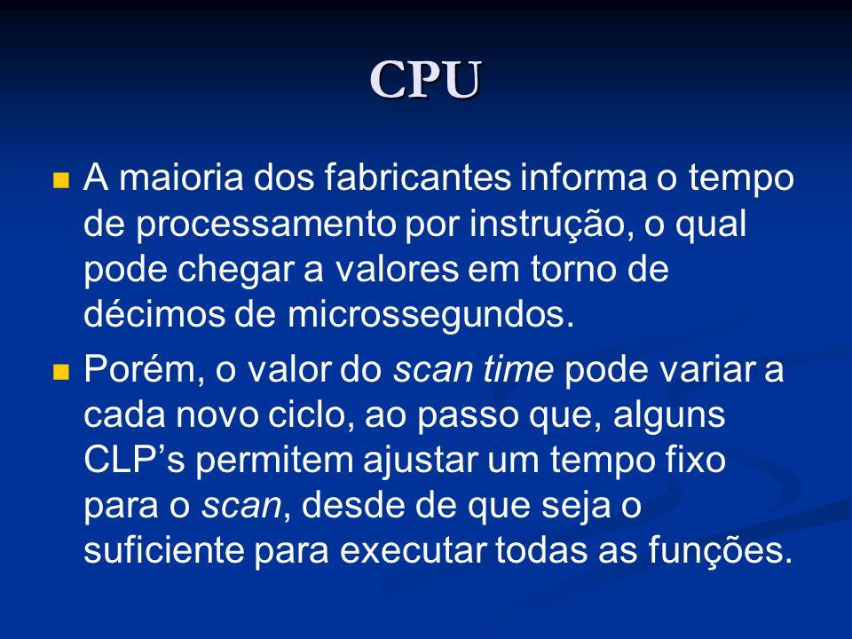 CPU A maioria dos fabricantes informa o tempo de processamento por instrução, o qual pode chegar a valores em torno de décimos de microssegundos. Poré