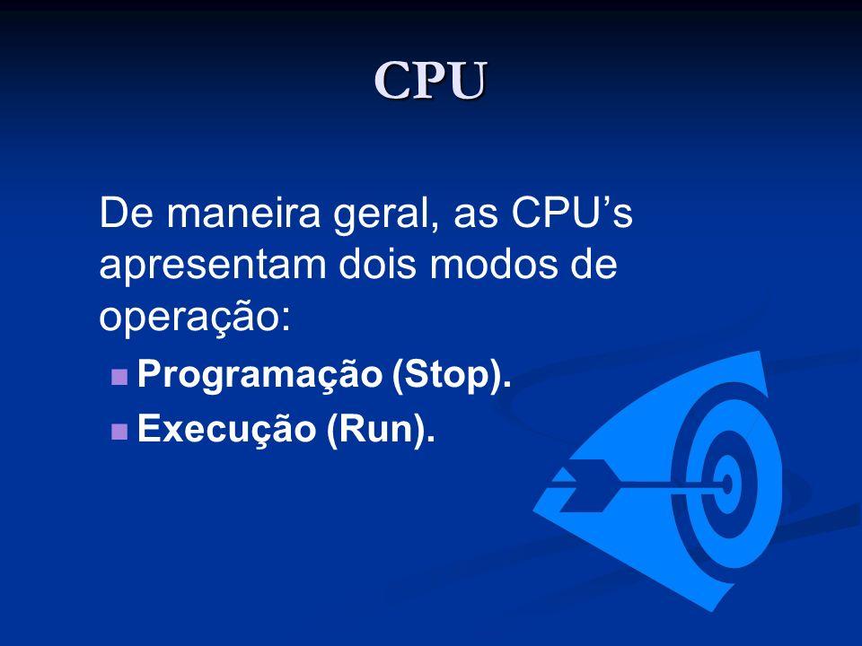 CPU De maneira geral, as CPUs apresentam dois modos de operação: Programação (Stop). Execução (Run).