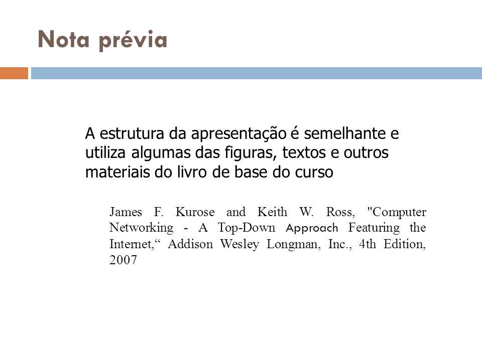 Nota prévia A estrutura da apresentação é semelhante e utiliza algumas das figuras, textos e outros materiais do livro de base do curso James F. Kuros