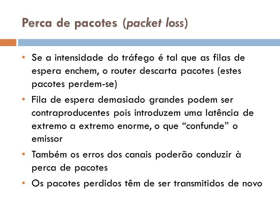 Perca de pacotes (packet loss) Se a intensidade do tráfego é tal que as filas de espera enchem, o router descarta pacotes (estes pacotes perdem-se) Fi