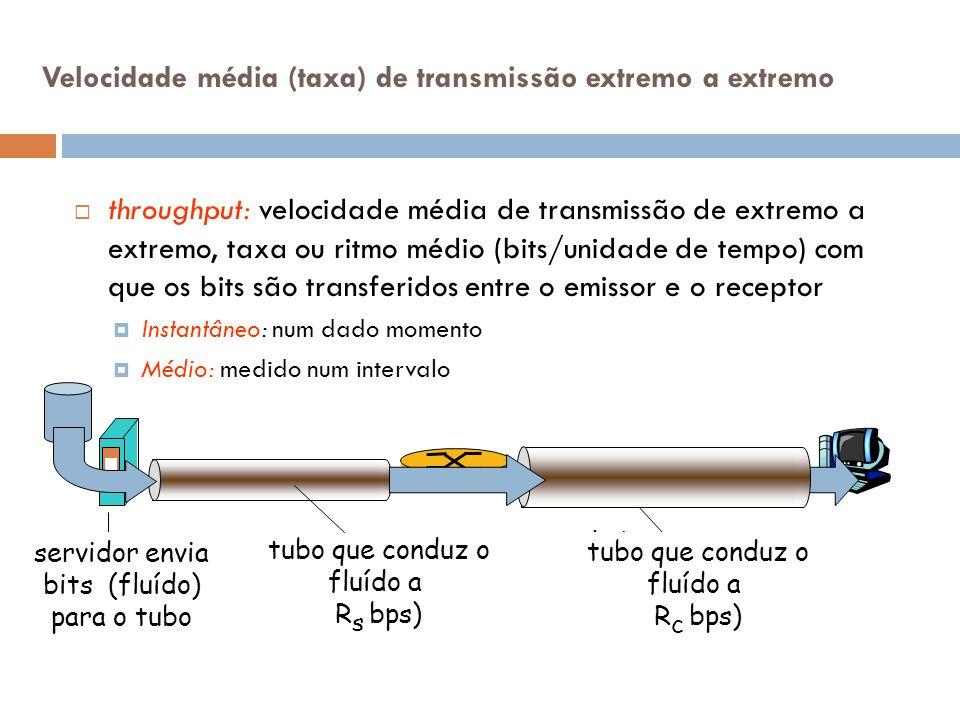Velocidade média (taxa) de transmissão extremo a extremo throughput: velocidade média de transmissão de extremo a extremo, taxa ou ritmo médio (bits/u