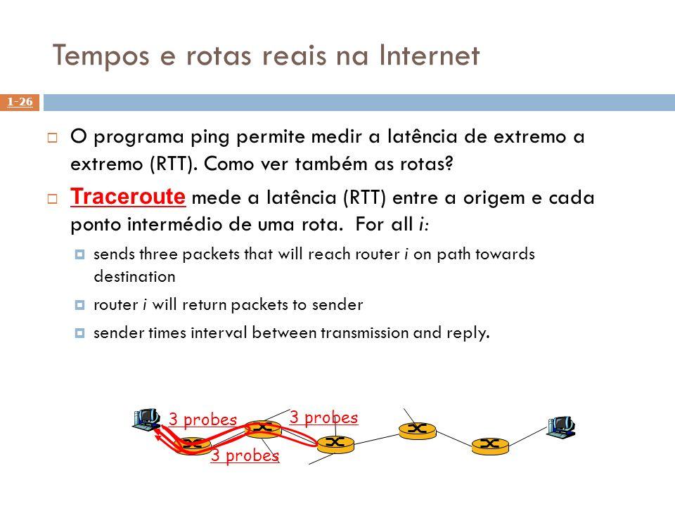 1-26 Tempos e rotas reais na Internet O programa ping permite medir a latência de extremo a extremo (RTT). Como ver também as rotas? Traceroute mede a
