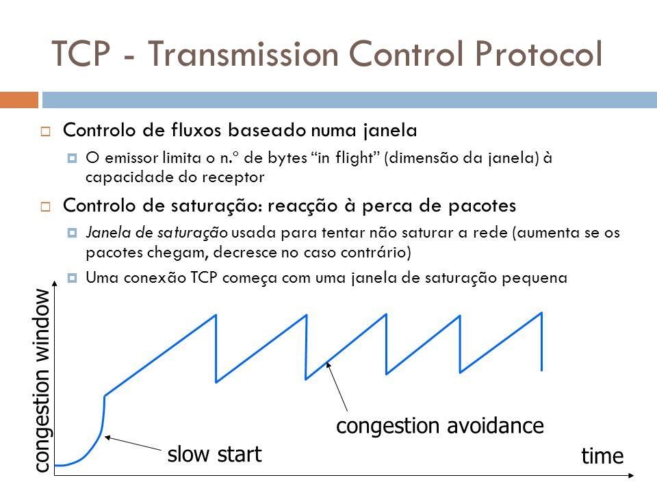 33 TCP - Transmission Control Protocol Controlo de fluxos baseado numa janela O emissor limita o n.º de bytes in flight (dimensão da janela) à capacid