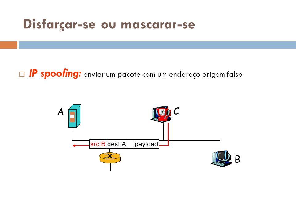 Disfarçar-se ou mascarar-se IP spoofing: enviar um pacote com um endereço origem falso A B C src:B dest:A payload