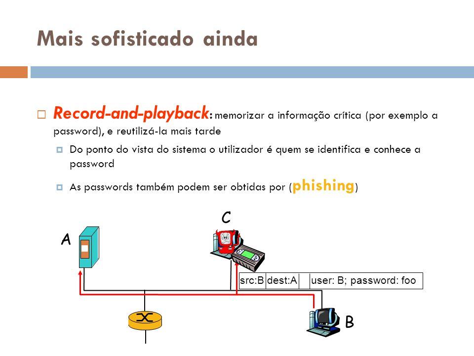 Mais sofisticado ainda Record-and-playback : memorizar a informação crítica (por exemplo a password), e reutilizá-la mais tarde Do ponto do vista do s
