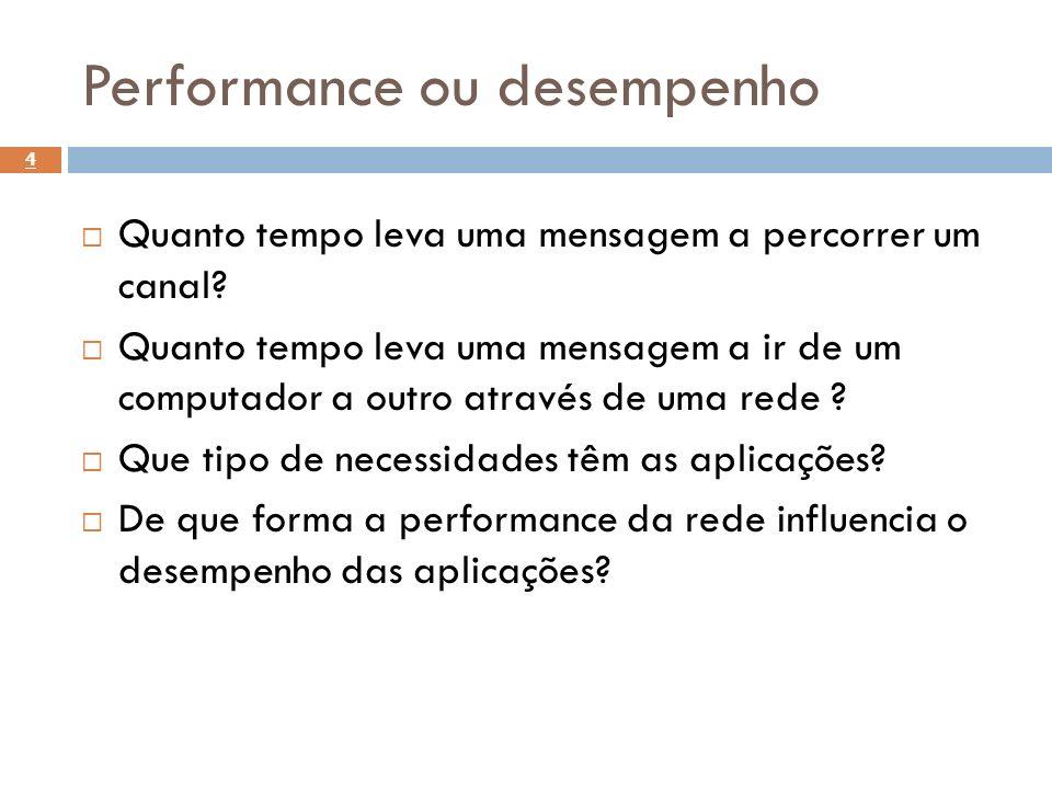 Performance ou desempenho Quanto tempo leva uma mensagem a percorrer um canal? Quanto tempo leva uma mensagem a ir de um computador a outro através de