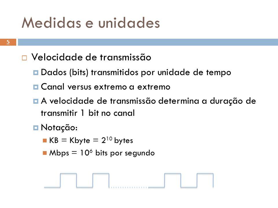 Medidas e unidades Velocidade de transmissão Dados (bits) transmitidos por unidade de tempo Canal versus extremo a extremo A velocidade de transmissão