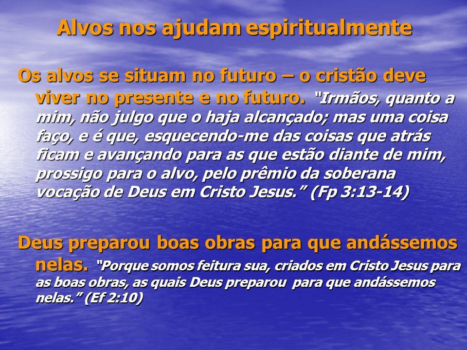 Alvos nos ajudam espiritualmente Alvos nos ajudam espiritualmente Os alvos se situam no futuro – o cristão deve viver no presente e no futuro. Irmãos,