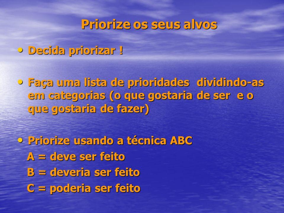 Priorize os seus alvos Decida priorizar ! Decida priorizar ! Faça uma lista de prioridades dividindo-as em categorias (o que gostaria de ser e o que g