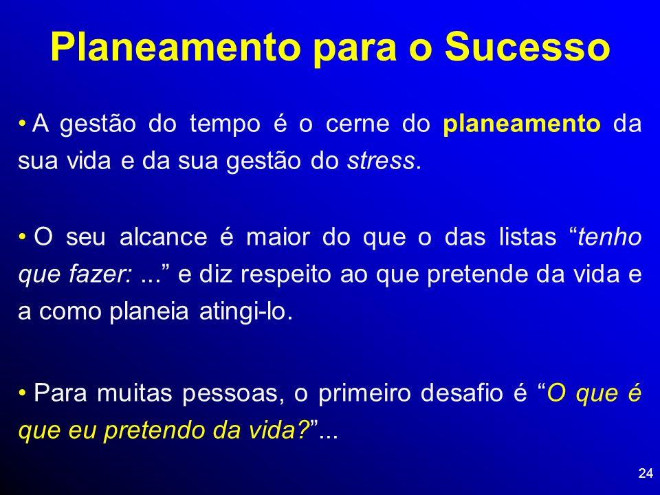 24 Planeamento para o Sucesso A gestão do tempo é o cerne do planeamento da sua vida e da sua gestão do stress. O seu alcance é maior do que o das lis