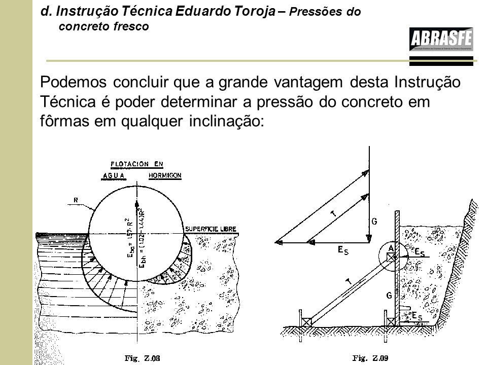 Podemos concluir que a grande vantagem desta Instrução Técnica é poder determinar a pressão do concreto em fôrmas em qualquer inclinação: d. Instrução