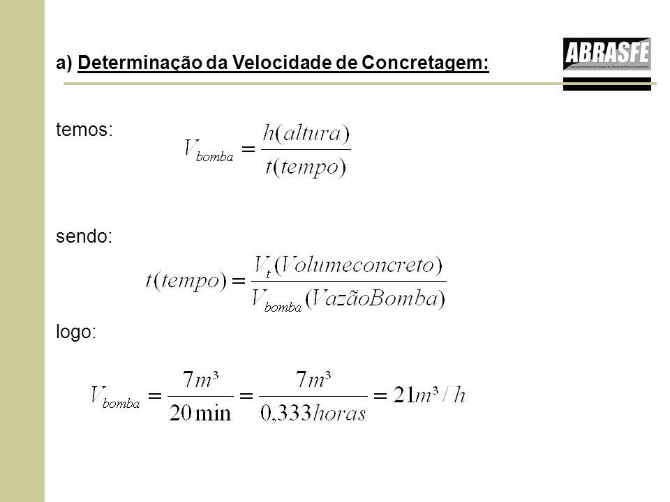 a) Determinação da Velocidade de Concretagem: temos: sendo: logo: