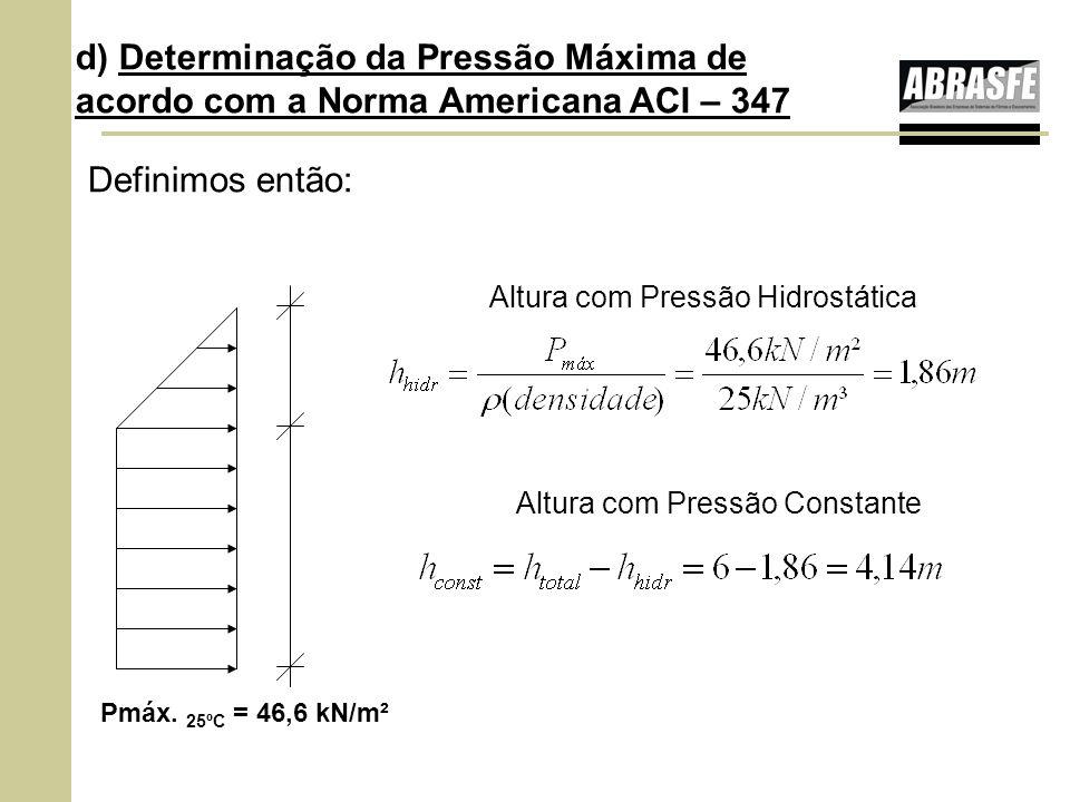 Definimos então: Altura com Pressão Hidrostática Altura com Pressão Constante Pmáx. 25ºC = 46,6 kN/m² d) Determinação da Pressão Máxima de acordo com