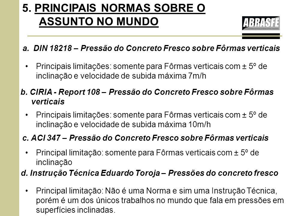 a.DIN 18218 – Pressão do Concreto Fresco sobre Fôrmas verticais 5. PRINCIPAIS NORMAS SOBRE O ASSUNTO NO MUNDO Principais limitações: somente para Fôrm