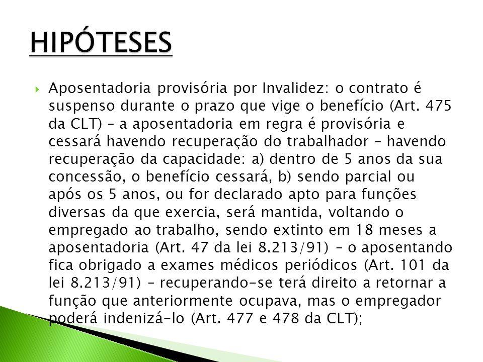 Aposentadoria provisória por Invalidez: o contrato é suspenso durante o prazo que vige o benefício (Art.