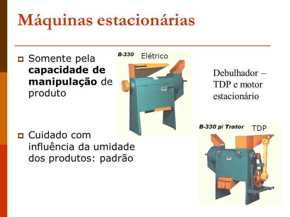 Máquinas estacionárias Somente pela capacidade de manipulação de produto Cuidado com influência da umidade dos produtos: padrão Debulhador – TDP e mot