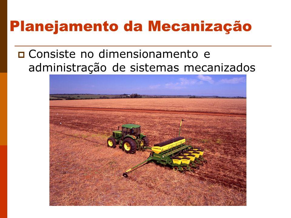 Planejamento da Mecanização Consiste no dimensionamento e administração de sistemas mecanizados