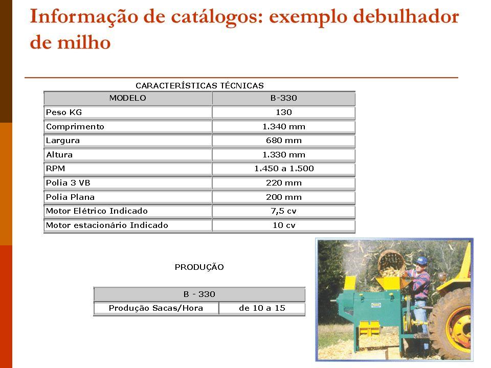 Informação de catálogos: exemplo debulhador de milho