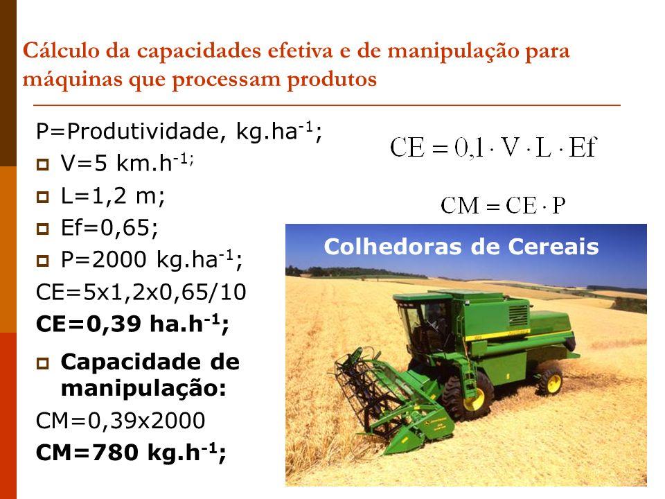 Cálculo da capacidades efetiva e de manipulação para máquinas que processam produtos P=Produtividade, kg.ha -1 ; V=5 km.h -1; L=1,2 m; Ef=0,65; P=2000