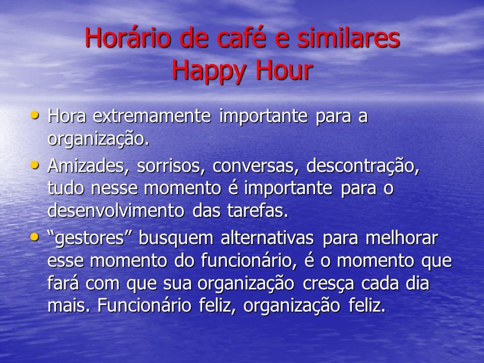Horário de café e similares Happy Hour Hora extremamente importante para a organização. Hora extremamente importante para a organização. Amizades, sor