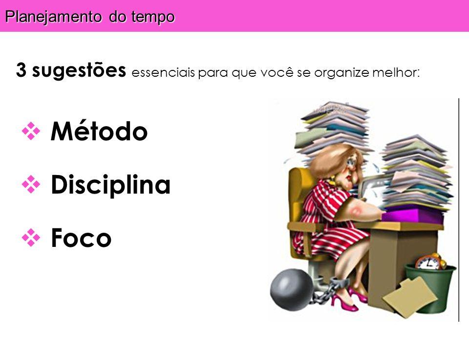 Planejamento do tempo 3 sugestões essenciais para que você se organize melhor : Método Disciplina Foco
