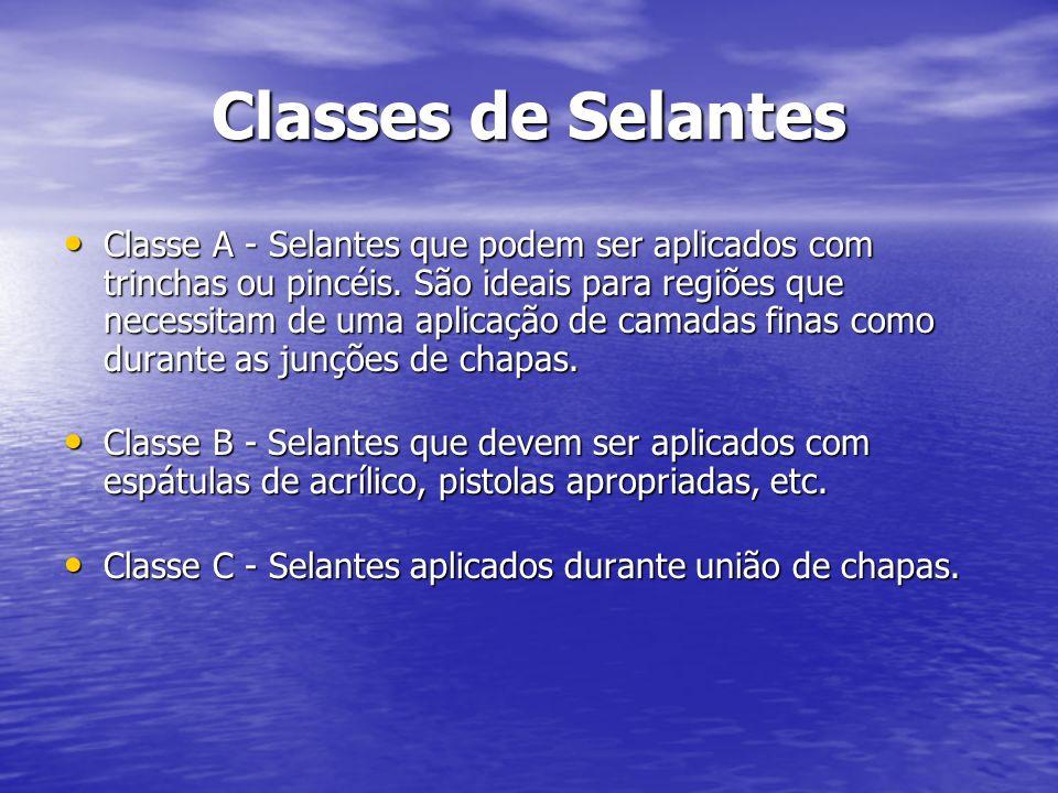 Classes de Selantes Classe A - Selantes que podem ser aplicados com trinchas ou pincéis. São ideais para regiões que necessitam de uma aplicação de ca